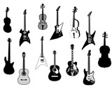 stringed instrument silhouette poster