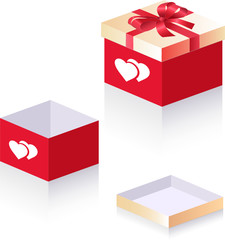 Gift box with 2 hearts