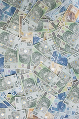 polish zloty banknotes background