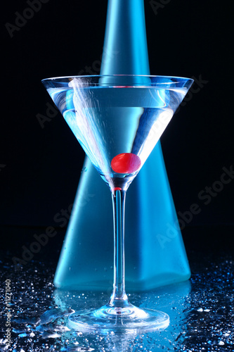 blue martini with cherry