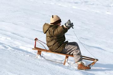 sled & boy