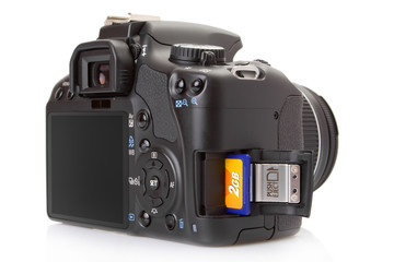 Digital slr with memory card half inserted