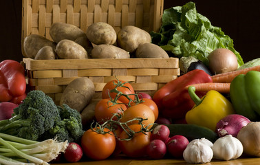 A lot of vegetables on dark background