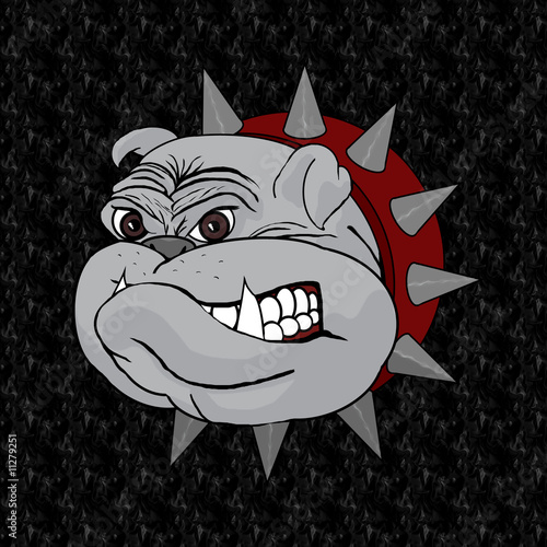 BullDog Head Mascot Cartoon On Black