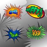 Superhero bashing - comic bubbles of super hero fights poster