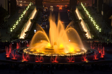 beautiful colors of magic fountain in Barcelona