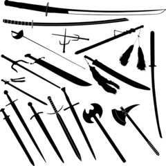 katana and blade vector silhouettes