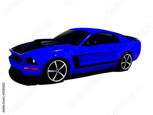 expensive blue sports car isolated on a white background
