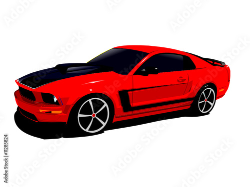 expensive red sports car isolated on a white background