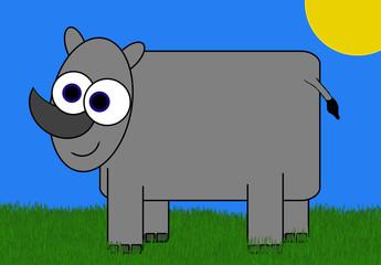 Rhino Cartoon - In Sunny Field