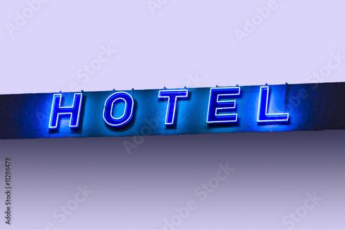 hotel neon schriftzug in blau mit verlauf und freiraum f r. Black Bedroom Furniture Sets. Home Design Ideas