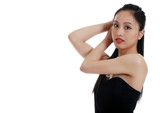 asian lady fixing her hair poster