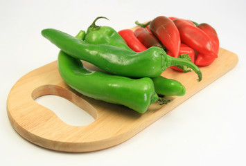 Red and Green chile angle view on cutting board