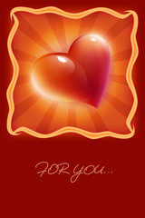 card with red heart for valentine's day congratulation