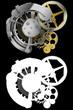 Dettagli della fotografia meccanismo ad orologeria con l'alfa-maschera