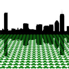 Boston skyline with shamrocks