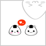Japanese rice balls (onigiri) in love. Kawaii style. poster