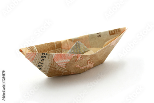 boat folded of euro note