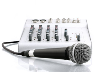 microphone with the mixer in sound studio