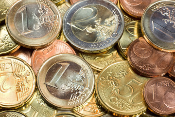 Lots of bright and shiny euro coins