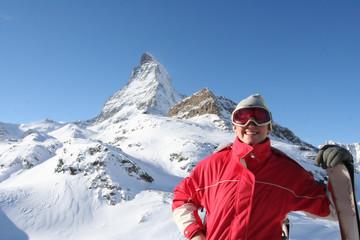Woman skiing in Swiss Alps