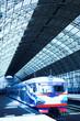 metal corridor and train