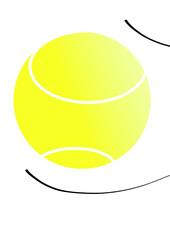 balle de tennis avec reflets et mouvement de l'air