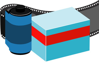 Curved filmstrip vector.