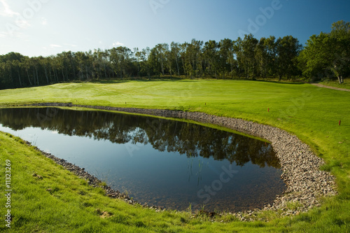 Morning of a bright day on a golf course in Molle, Sweden