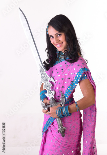 Asian teenage girl with the sword