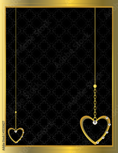 Gold heart patterned background 3