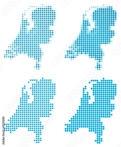 Netherlands map mosaic set. Isolated on white background.