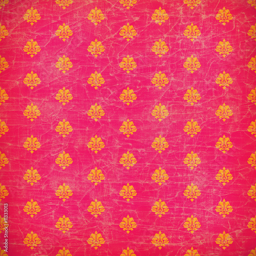Pink and orange damask grunge wallpaper