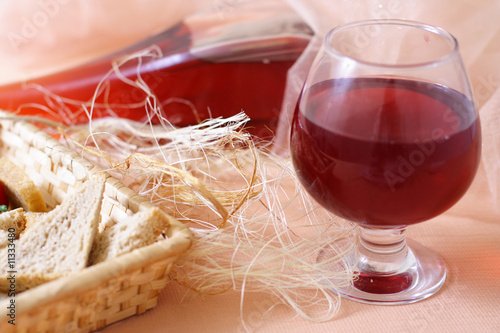 Bread basket and glass of wine