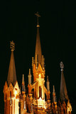 Outdoor of Catholic cathedral at night poster