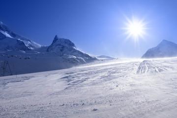 Sunny slope in Alps