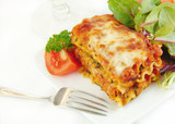 Lasagna on a Plate with Salad