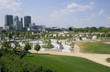 Winnipeg, Manitoba skyline behind skate park