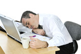 Businessman asleep at his desk on white background poster