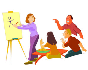 vector cartoon pictionary group