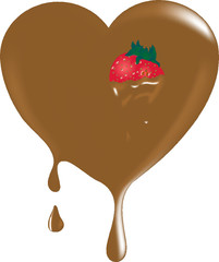 Chocolate heart with red strawberry