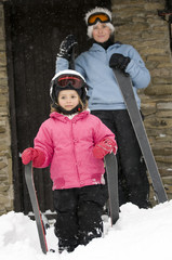 Mother and daughter on ski