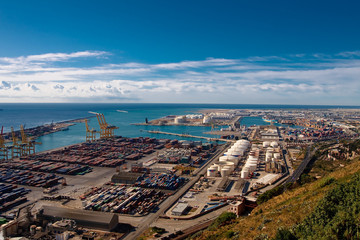 View of industrial Barcelona port