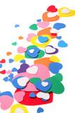 colorful foam confetti hearts over white background poster