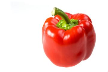 einzelne rote Paprika isoliert auf weiß