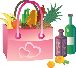 Pink bag with food and wine