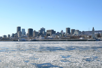 Montreal city skyline in winter
