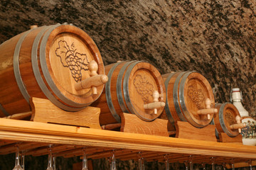 Wine cellar with tun and wineglasses
