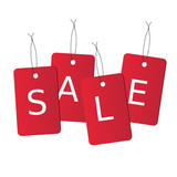 Set of realistic sales tags with text saying SALE poster