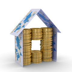 monetary house on a white background. 3D image